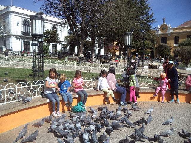 Parque Central, Potosi. The pigeons are very well fed in Bolivia.