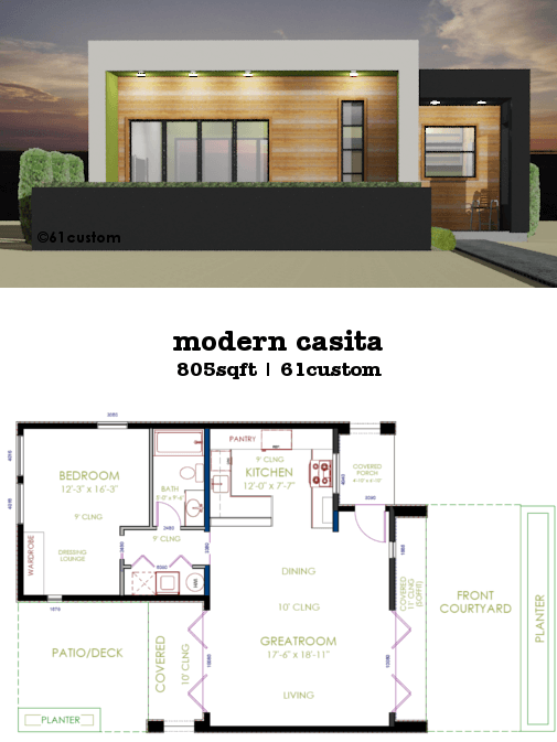 casita plan small modern house plan