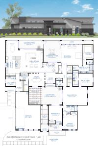 Contemporary Courtyard House Plan | 61custom | Modern ...