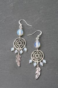 Dreamcatcher Earrings, Moonstone Earrings, Feather ...