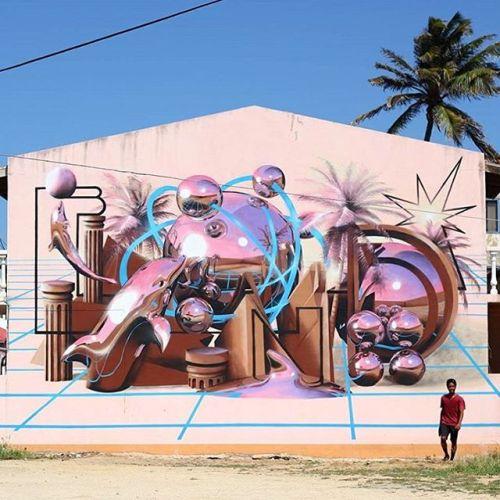 bizarrebeyondbelief:  Brilliant new work by @bondtruluv in Aruba for the @arubaartfair festival.#bondtruluv #graffiti #streetart #arubaartfair
