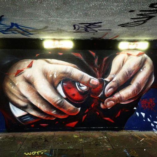 streetartglobal:  'Hands of doom' by the UK talent @gnashermurals #gnashermurals #globalstreetart #wallart #streetarteverywhere #mural #hands #doom #sprayart https://www.instagram.com/p/BLto_O4AunE/