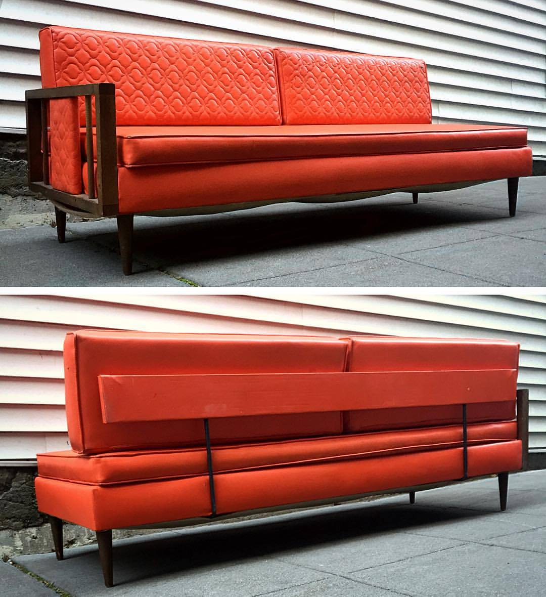 Retro Orange Vinyl Sofa Orange Vinyl Mid-century Daybed / Sofa Sold - Fremont