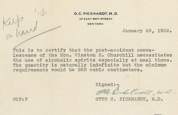 Winston Churchill gets a doctoru0027s note to drink u201cunlimited - letter of agreement