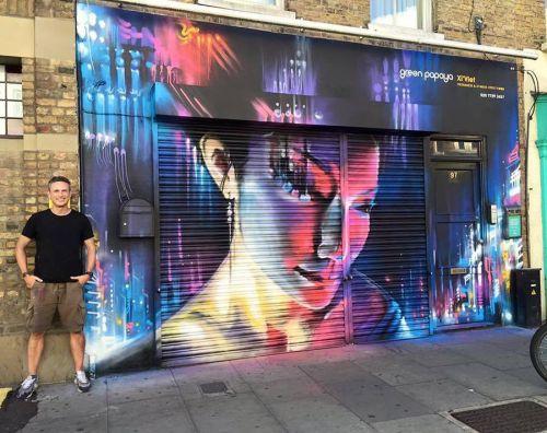 streetartglobal:  Here's @dankitchener looking very happy having painted this beautiful piece - 'Future Geisha' - last weekend in London. Simply stunning. #globalstreetart #dankitchener #dank #shutters #geisha #london https://www.instagram.com/p/BIDsI3zDv_W/