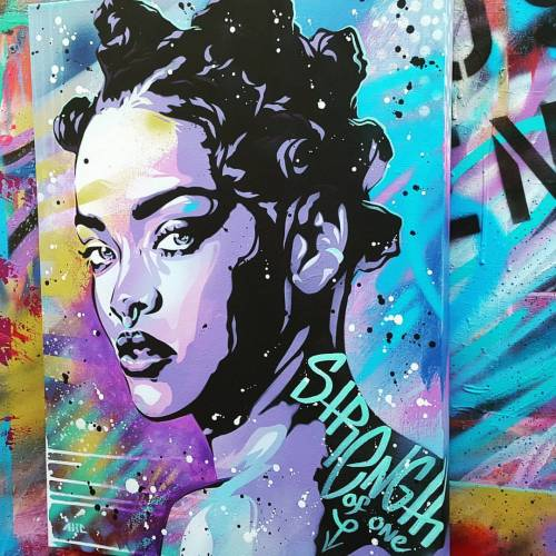 brycechisholm:  Strength of One Spray paint and acrylic on a 18x24in deep canvas. Beautiful @heathersanders_