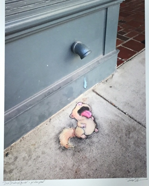 sluggoonthestreet:  Heads up! One of my chalk creatures escaped and found his way to 212arts.com, where he is currently being sold as a signed archival print. Limited edition of 25, squirrel feeder included.