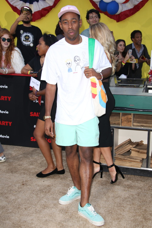 celebritiesofcolor:  Tyler, The Creator attends the premiere of Sony's 'Sausage Party' at Regency Village Theatre on August 9, 2016 in Westwood, California.See more great art over at www.charliebuster.co.uk Best UrbanArt Blog 2015@graffitikings #charliebuster #graffitikings #GK #streetart #handmade #graffiti #worldgraffiti
