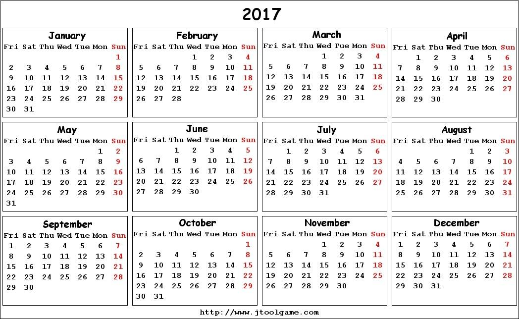 Usiful Templates \u2014 2017 Monthy Calendar