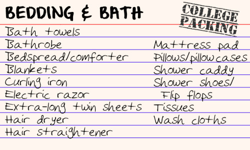 college packing list Tumblr
