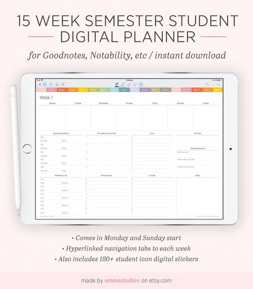 emma\u0027s studyblr \u2014 Semester Weekly Digital Planner Every semester I