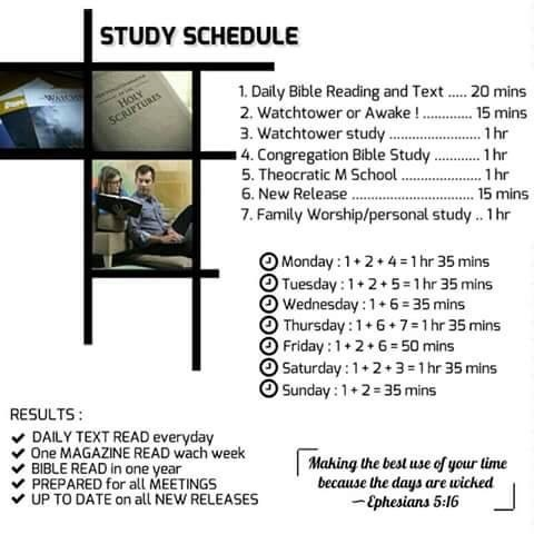 JW News  Archive \u2022 Weekly Study Schedule