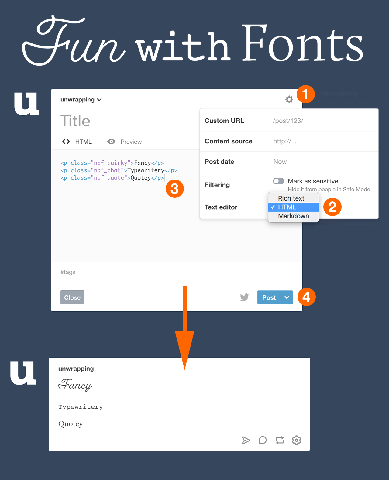 Calligraphy Font Generator Html Unwrapping Tumblr To Use Tumblr S New Fonts Create A Text Post