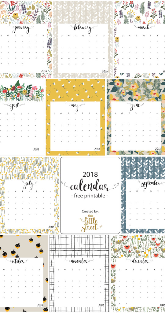 2018 Calendar - free printable! This Little street  This Little