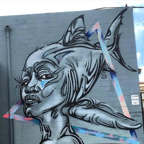 lostangelesstreetart:  @calenblake x @co_labs #streetart #losangeles #mural #art #streetartist #shark #urbanart #rsa_graffiti #rsa_preciousjunk #rsa_streetview #dsb_graff #artist #arte #arteurbano #royalsnappingartists #tv_streetart #infamous_family #igla #igersla #LA #dtla #calenblake (at Arts District, Los Angeles)