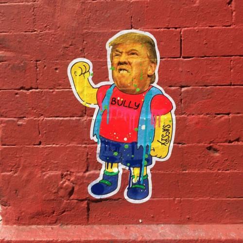 impermanent-art:  Bully is as bully does. • @sacsix in Soho. _________________________________#sacsix #donaldtrump #nelsonmuntz #thesimpsons #pasteup #wheatpaste #art #nycart #urbanart #streetart #streetartnyc #nycstreetart #soho #manhattan #newyork #impermanentart (at Crosby Street)