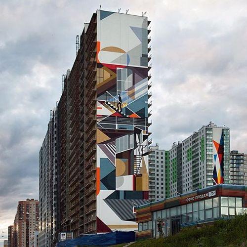 bizarrebeyondbelief:  Gigantic new piece in Russia by mural artist @petro_aesthetics #petroaesthetics #streetart #mural