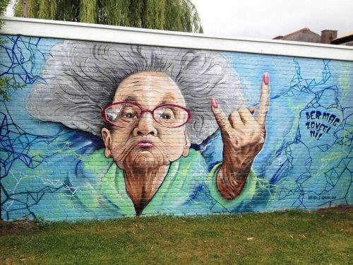 """streetartglobal:  """"Because old people can be cool too!"""" Another one by #SMOK (globalstreetart.com/smok) #globalstreetart #streetart #graff #walls #murals https://www.instagram.com/p/BFhCqJfAEL0/"""