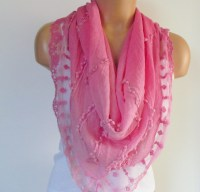Pink Triangle Scarf With Lace-Shawl Scarf-Cotton Scarf-New ...