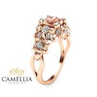 Camellia Jewelry  Floral Design Morganite Engagement Ring ...