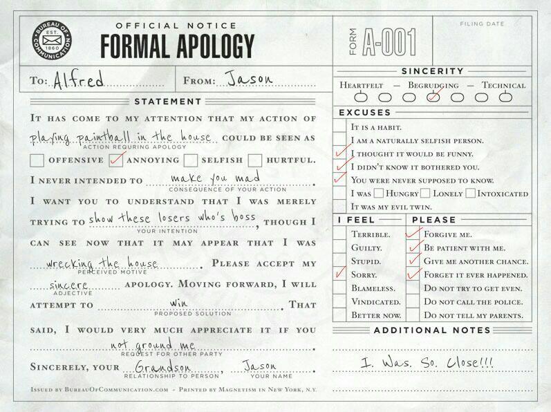 I\u0027m not sorry Get over it Batfamily Apologies Batman Pinterest - statement form