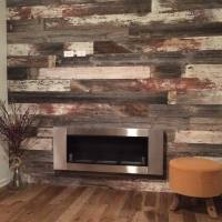 Real Antique Wood Mill  Reclaimed barn wood fireplace