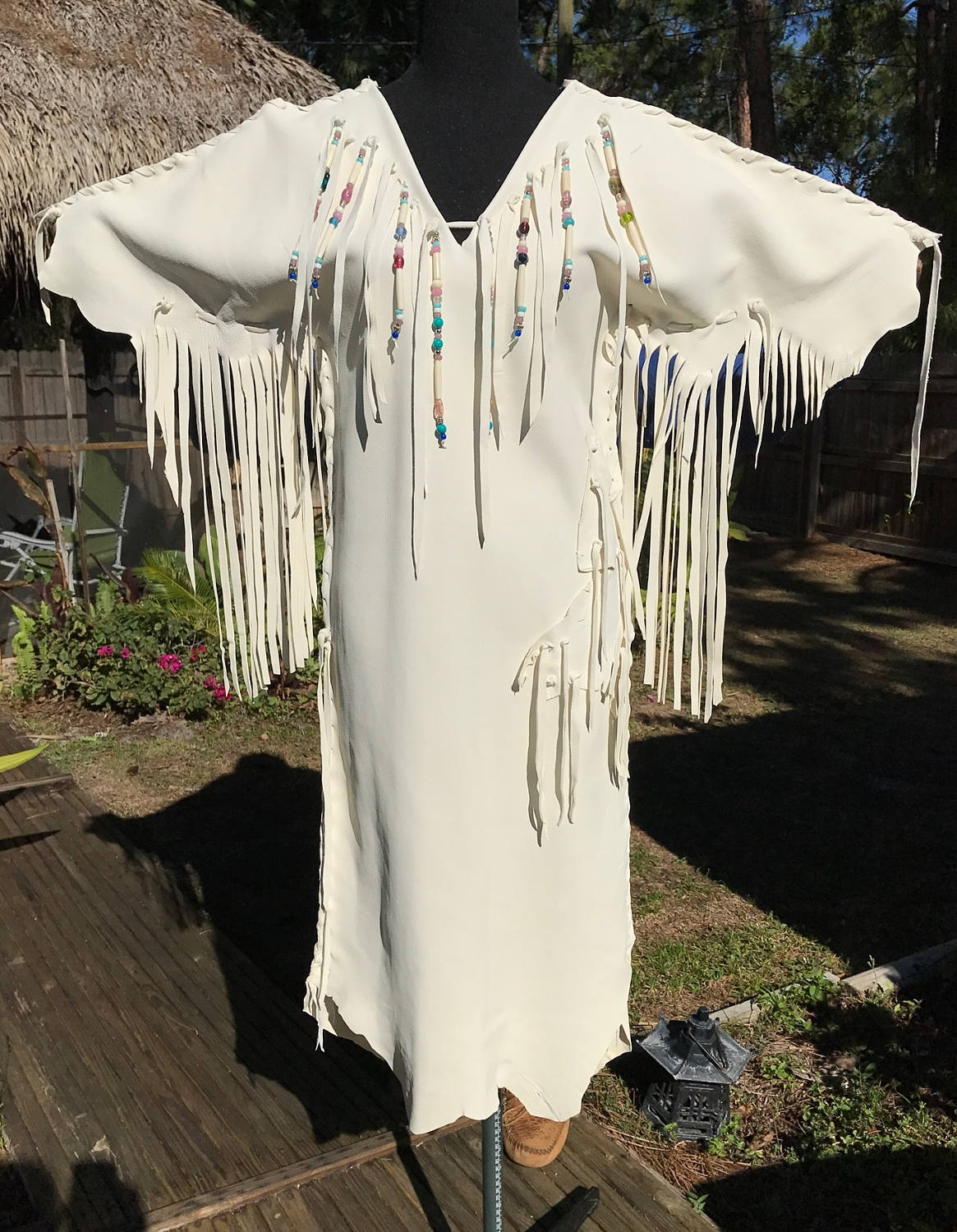 2 native american wedding dress Deerskin Leather Wedding Dress Native American Style Leather Dress With Fringe and Beads Rustic
