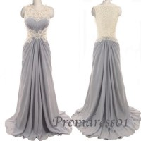 2015 retro grey lace long prom dress - Prom Dress