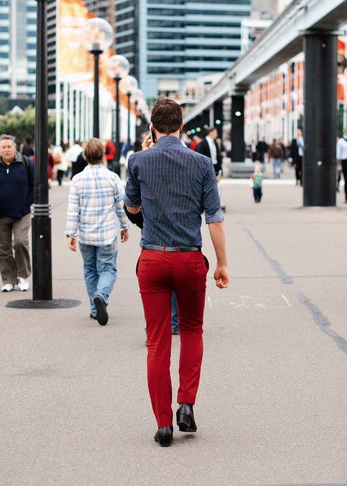 Red hot.Similar look: Hartford Slim-Fit Cotton-Twill Trousers.