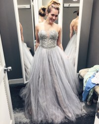 Silver Grey Plunging Sweetheart Prom Dress, Beaded A Line ...