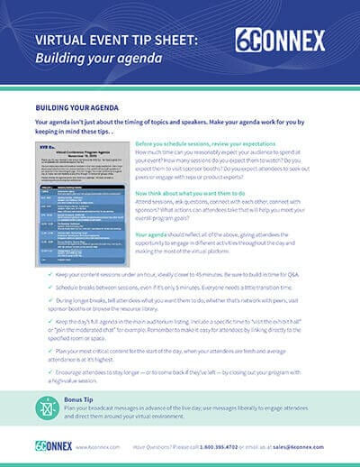 Make Your Virtual Event Agenda Work For You Tip Sheet