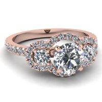 Round Cut diamond Halo Engagement Rings with White Diamond ...