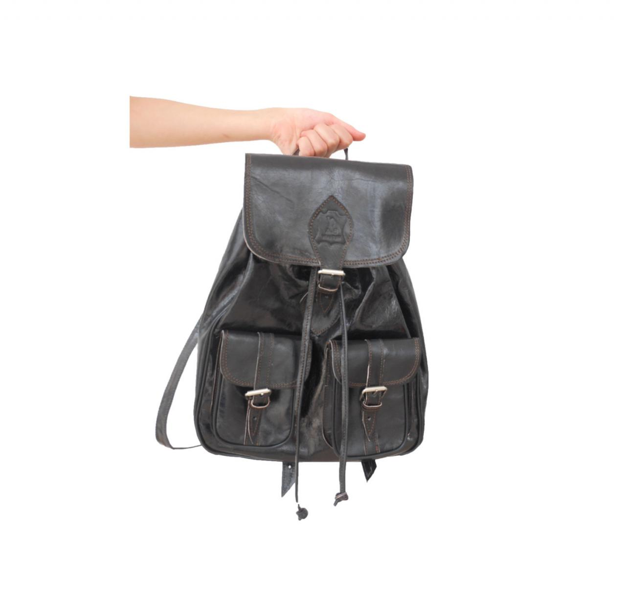 Picnic Backpack Australia Black Leather Backpack Satchel Bag Handmade Soft Leather