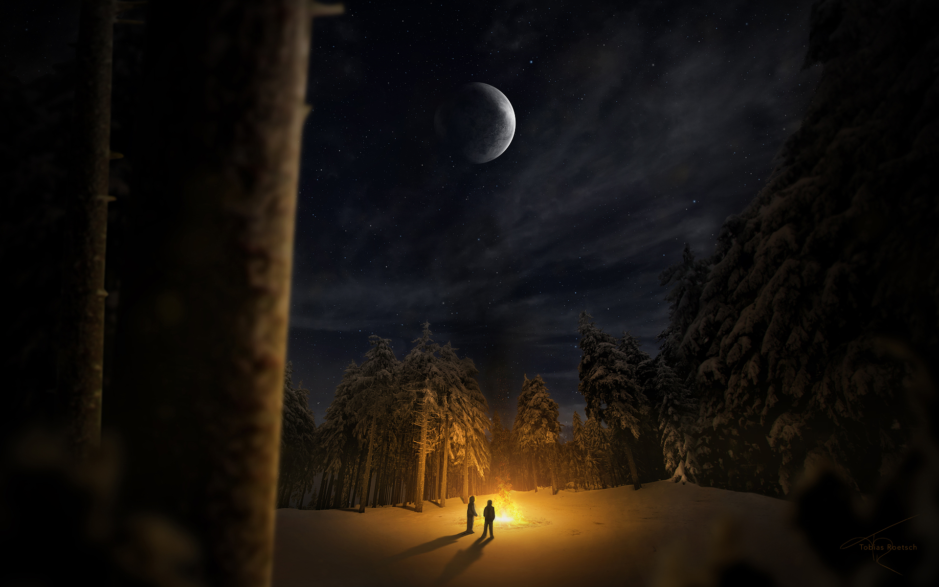 Falling Snow Wallpaper For Ipad Free Download Natural Scenery Wallpaper Of Campfire A
