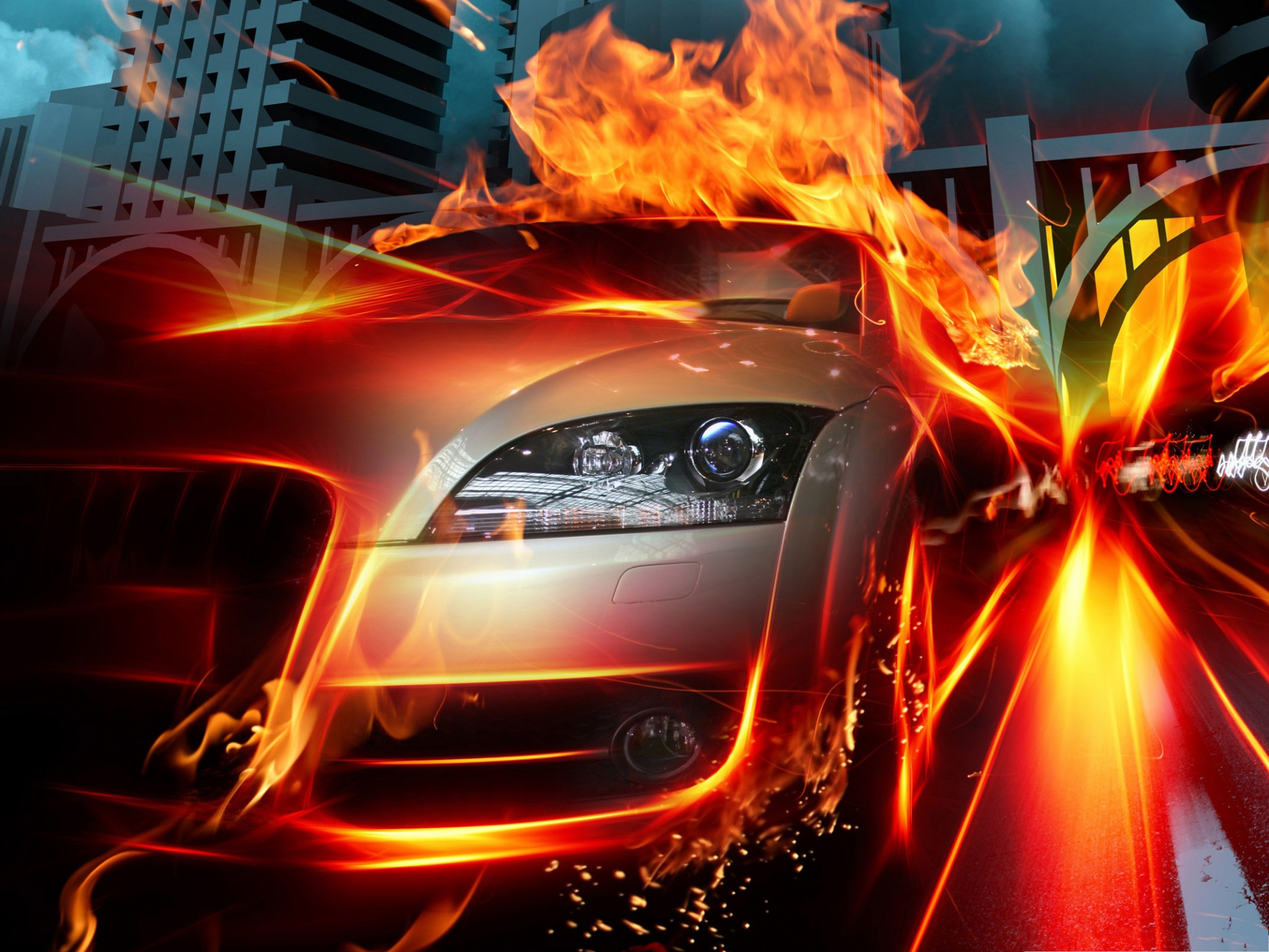 Wallpaper Hd Ghost Rider Racing Car Background Silver Car On Fire Amazing And