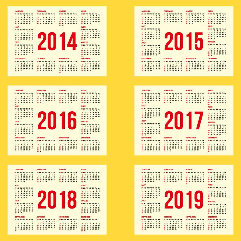 calendar 2015 2019 - Artij-plus
