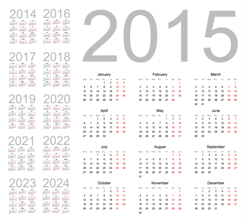Simple Red Calendar 2015 2024 Vector Free Vector Graphic Download