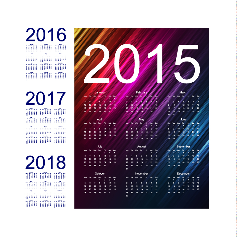 Twill Calendar 2015 2018 Vector Free Vector Graphic Download