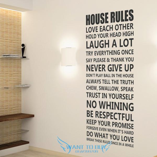 house rules wall sticker quotes decals wallpaper home deco home sweet home wall sticker decals