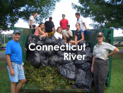 The Connecticut River, where I spent summers helping volunteer crews snuff out the invasive aquatic plant, water chestnut.