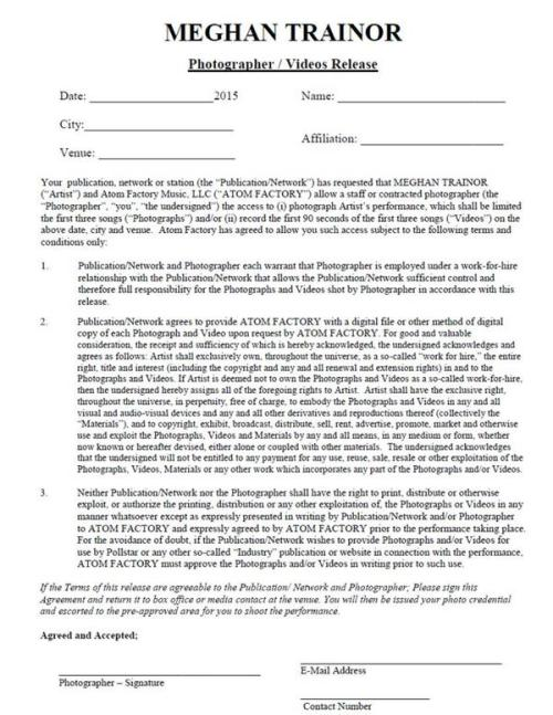 Haulix Daily \u2013 Meghan Trainor\u0027s Photo/Video Release Form Is - video release form
