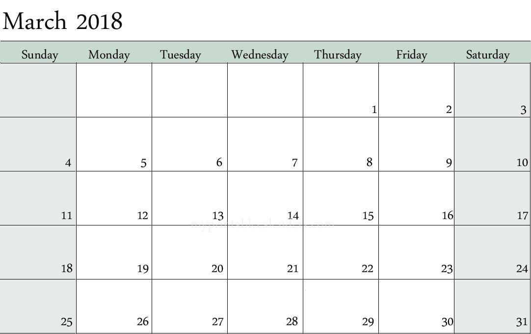 September blank and white calendars 2018 \u2014 March calendar printable