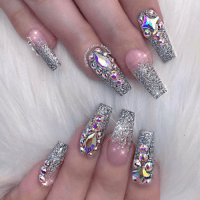 silver sparkle nails | Tumblr