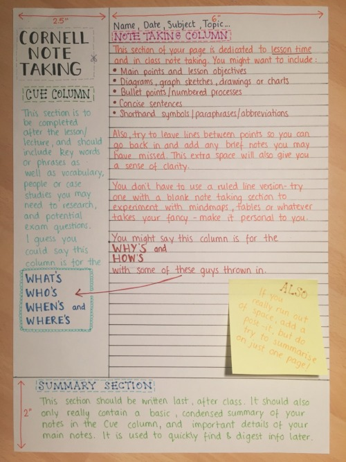 A little guide to the \u0027Cornell Note Taking\u0027 method Revise Or Die - cornell note