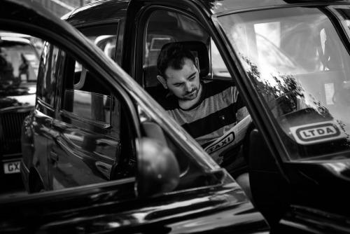 Black Cab Driver bringing Central London to a standstill