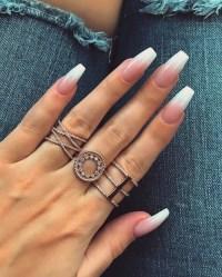 white acrylic nails | Tumblr