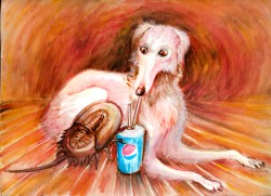 Small Of Funny Dog Eat A Pepsi