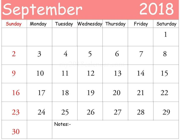 Free march 2018 calendar printable color \u2014 September calendar 2018 - one week calendar template word