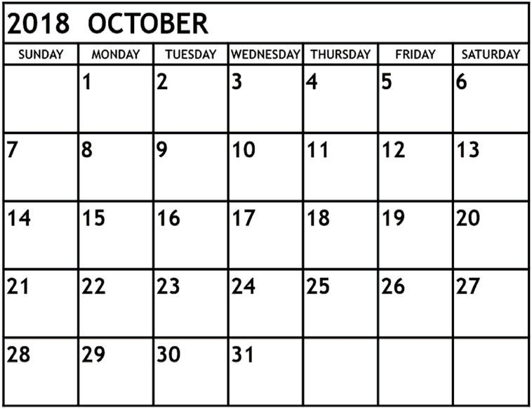 September 2018 calendar with holidays usa \u2014 October yearly calendar - yearly calendar