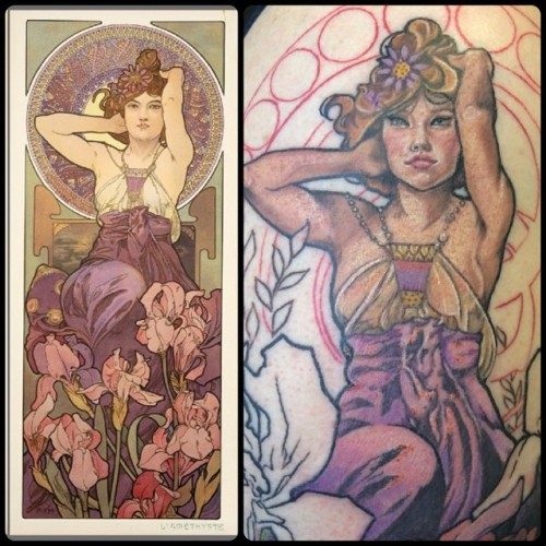 Some detail and the #alphonsemucha work that the design came from. I changed the face and layout a bit. #tattoo #tattoos #matattoo #masstattoonetwork #mpiretattoomachine #fusionink #eternalink #broadstreettattoo @broadstreettattoo